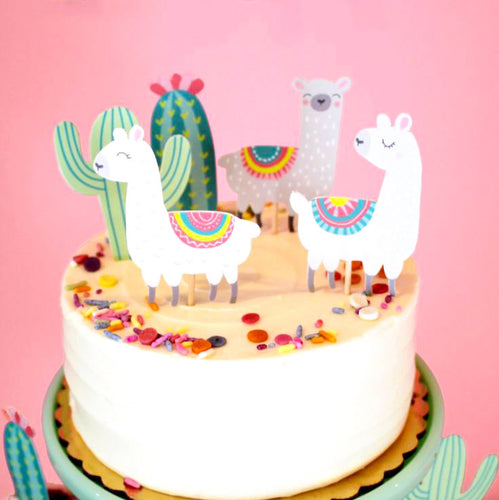 Llama Friends Cake Topper (Set of 5)-Cupcake Birthday, Llama-Cheery Toppers
