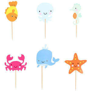 Underwater Animal Cake Toppers (Set of 24)-Mermaid, mermaid baby shower, Nautical-Cheery Toppers
