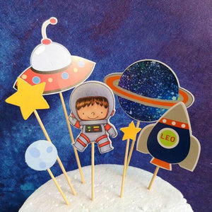 Cartoon Astronaut Space Cake Topper-Space-Cheery Toppers