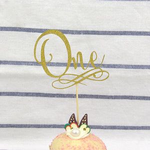 "Gold Glitter ""One"" Elegant Cake Topper-1st Birthday-Cheery Toppers"