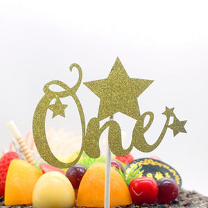 "Gold/Silver Glitter ""One"" with Stars Cake Topper-1st Birthday-Gold-Cheery Toppers"