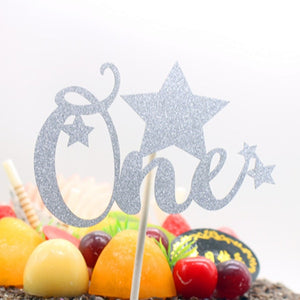 "Gold/Silver Glitter ""One"" with Stars Cake Topper-1st Birthday-Silver-Cheery Toppers"