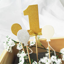 Load image into Gallery viewer, Number 1 Glitter Cake Topper Set-1st Birthday-Gold-Cheery Toppers