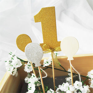 Number 1 Glitter Cake Topper Set-1st Birthday-Gold-Cheery Toppers