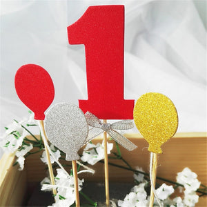 Number 1 Glitter Cake Topper Set-1st Birthday-Red-Cheery Toppers