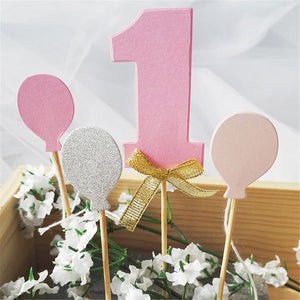 Number 1 Glitter Cake Topper Set-1st Birthday-Pink-Cheery Toppers