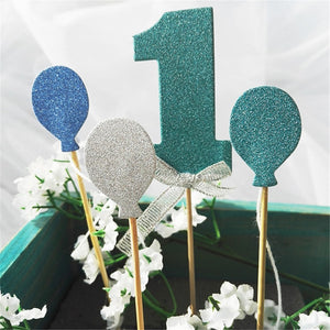 Number 1 Glitter Cake Topper Set-1st Birthday-Emerald-Cheery Toppers