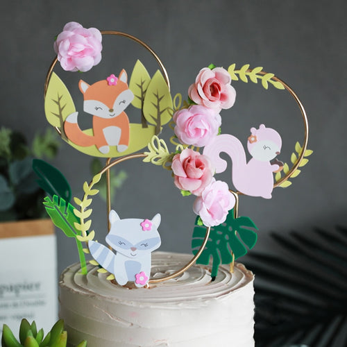 Floral Forest Animal/Woodland Creature Cake Toppers-Forest, Forest Baby Shower, jungle, Jungle Baby Shower-Squirrel-Cheery Toppers