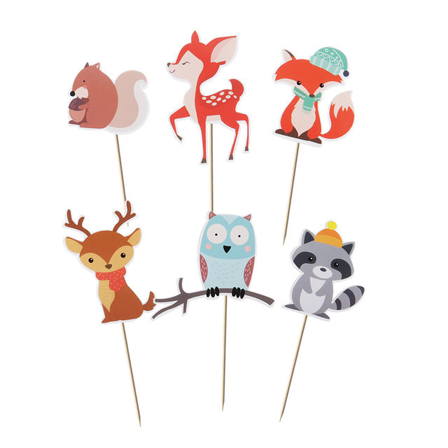 Winter Woodland/Forest Animal Cake Toppers-Cupcake Baby Shower, Cupcake Birthday, forest, Forest Baby Shower, Jungle-6pcs cake toppers-Cheery Toppers