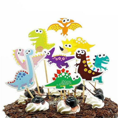 9 Piece Big Eyed Dinosaur Cake Topper-Dinosaur-Cheery Toppers