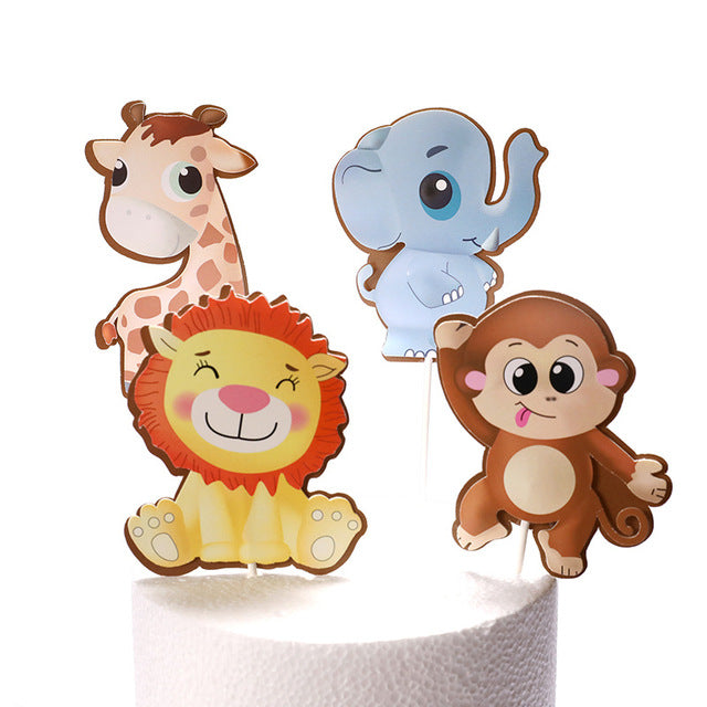 Cartoon Jungle Cake Toppers-Jungle, Jungle Baby Shower-Jungle Animals-Cheery Toppers