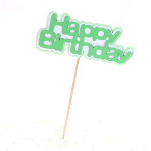 "Cartoon Jungle Cake Toppers-Jungle, Jungle Baby Shower-Green ""Happy Birthday""-Cheery Toppers"