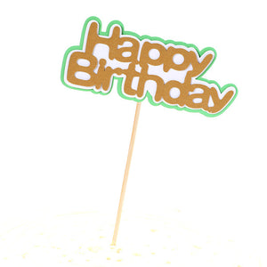 "Cartoon Jungle Cake Toppers-Jungle, Jungle Baby Shower-Brown ""Happy Birthday""-Cheery Toppers"