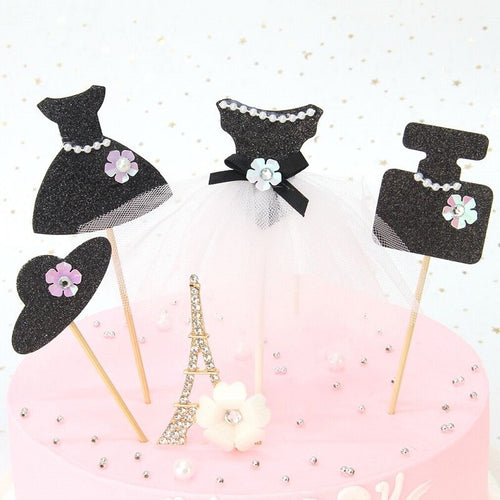 "Black ""Elegant Pearl Ballet Princess Dress"" Cupcake Toppers-Bachelorette, Bat Mitzvah, Quinceanera, Sweet Sixteen-10pcs Perfume-Cheery Toppers"