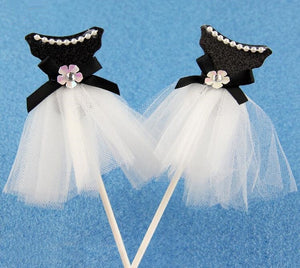 "Black ""Elegant Pearl Ballet Princess Dress"" Cupcake Toppers-Bachelorette, Bat Mitzvah, Quinceanera, Sweet Sixteen-5pcs Tutu dress-Cheery Toppers"