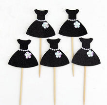 "Load image into Gallery viewer, Black ""Elegant Pearl Ballet Princess Dress"" Cupcake Toppers-Bachelorette, Bat Mitzvah, Quinceanera, Sweet Sixteen-10pcs Dress-Cheery Toppers"