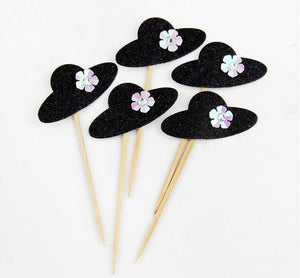 "Black ""Elegant Pearl Ballet Princess Dress"" Cupcake Toppers-Bachelorette, Bat Mitzvah, Quinceanera, Sweet Sixteen-10pcs Hat-Cheery Toppers"