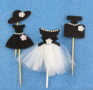 "Black ""Elegant Pearl Ballet Princess Dress"" Cupcake Toppers-Bachelorette, Bat Mitzvah, Quinceanera, Sweet Sixteen-4pcs Mix-Cheery Toppers"