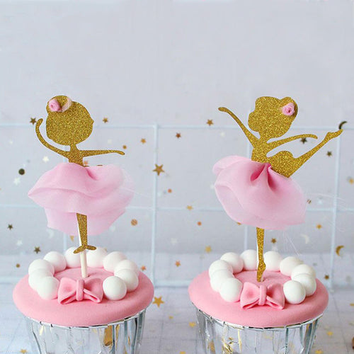 Gold and Pink Ballerina Cupcake Toppers (Set of 12)-ballerina, Cupcake Birthday-Cheery Toppers