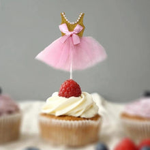 Load image into Gallery viewer, Ballerina/Princess Cupcake Toppers (Set of 5)-bachelorette, ballerina, Cupcake Baby Shower, Cupcake Birthday, Princess, Princess Baby Shower-Gold-Cheery Toppers