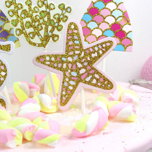 Glittering Mermaid Tails Cake Topper (Set of 5)-mermaid-Cheery Toppers