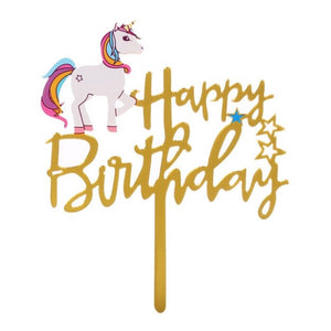 """Happy Birthday"" in Gold Classic Unicorn Cake Topper-""happy birthday"", unicorn-Cheery Toppers"