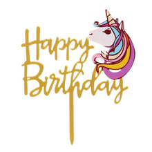 "Load image into Gallery viewer, ""Happy Birthday"" Unicorn Head Cake Topper-""happy birthday"", unicorn-Cheery Toppers"