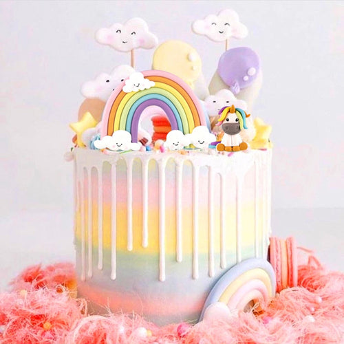 Rainbow and Unicorn Cake Topper Set-unicorn, unicorn baby shower, unicorn birthday-Rainbow-Cheery Toppers