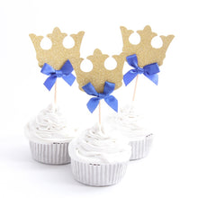 Load image into Gallery viewer, Prince Crown Royal Blue Cupcake Toppers-blue baby shower, Cupcake Baby Shower, Cupcake Birthday-Cheery Toppers
