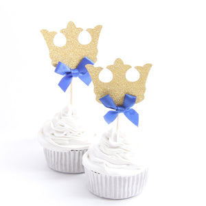 Prince Crown Royal Blue Cupcake Toppers-blue baby shower, Cupcake Baby Shower, Cupcake Birthday-Cheery Toppers