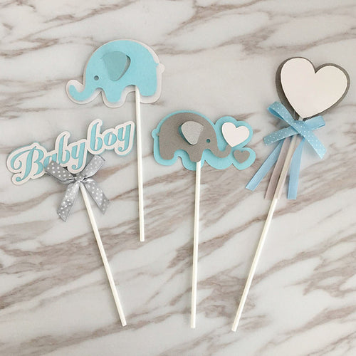 It's A Boy! Baby Shower Blue Elephant Cake/Cupcake Toppers-blue baby shower, boy baby shower, Cupcake Baby Shower, elephant boy-Cheery Toppers