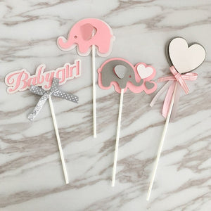 It's A Girl! Baby Shower Pink Elephant Cake/Cupcake Toppers-Cupcake Baby Shower, elephant girl, girl baby shower, pink baby shower-Cheery Toppers