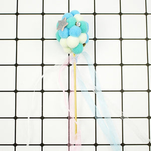 Pompom Balloon Cake Topper-blue baby shower, pink baby shower, Princess, Princess Baby Shower, princess birthday, unicorn, unicorn baby shower, unicorn birthday-Blue-Cheery Toppers