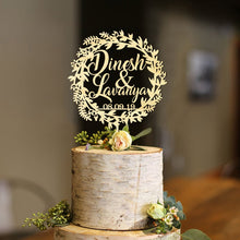 Load image into Gallery viewer, Personalized Winter Wreath Wedding Cake Topper with Names and Date