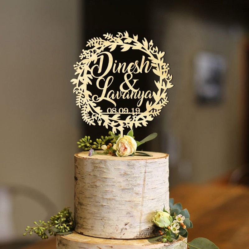 Personalized Winter Wreath Wedding Cake Topper with Names and Date