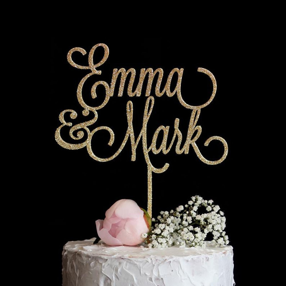 Personalized Classy and Elegant Wedding Topper-Custom Wedding, Rustic Wedding-Glitter Gold-14cm-Cheery Toppers