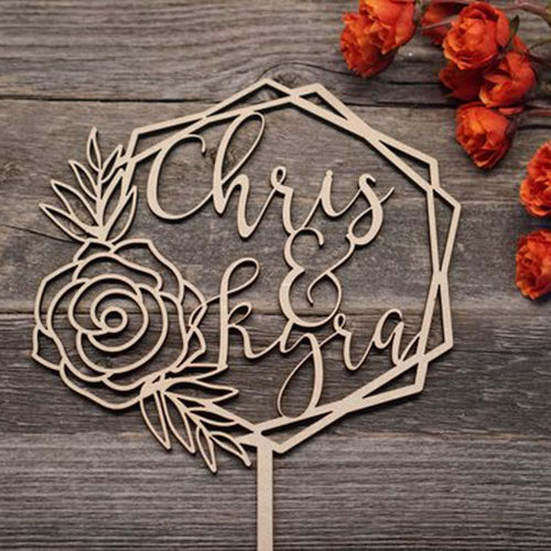 Personalized Rose Hexagon Geometric Wedding Topper-custom wedding, Rustic Wedding-Wood-5.5
