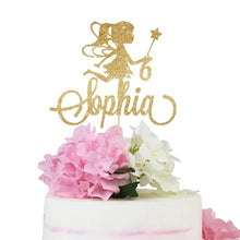 Load image into Gallery viewer, Custom Gold Glitter Fairy Cake Topper