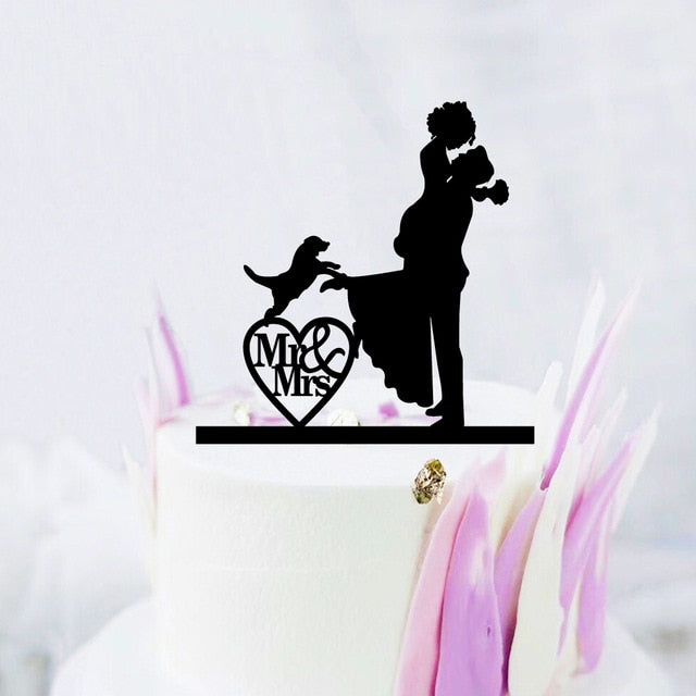 Bride and Groom with Large Dog Wedding Cake Topper