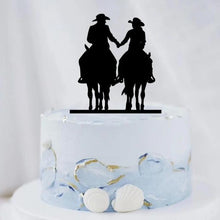 Load image into Gallery viewer, Country Horseback Riding Wedding Cake Topper