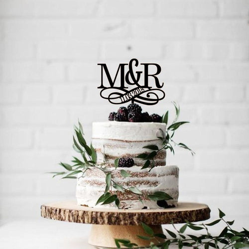 Custom Initials with Infinity Date Monogram Cake Topper