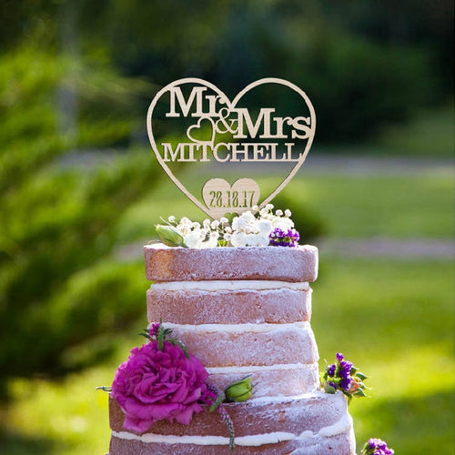Heart Mr&Mrs Custom Last Name And Date Wedding Cake Topper