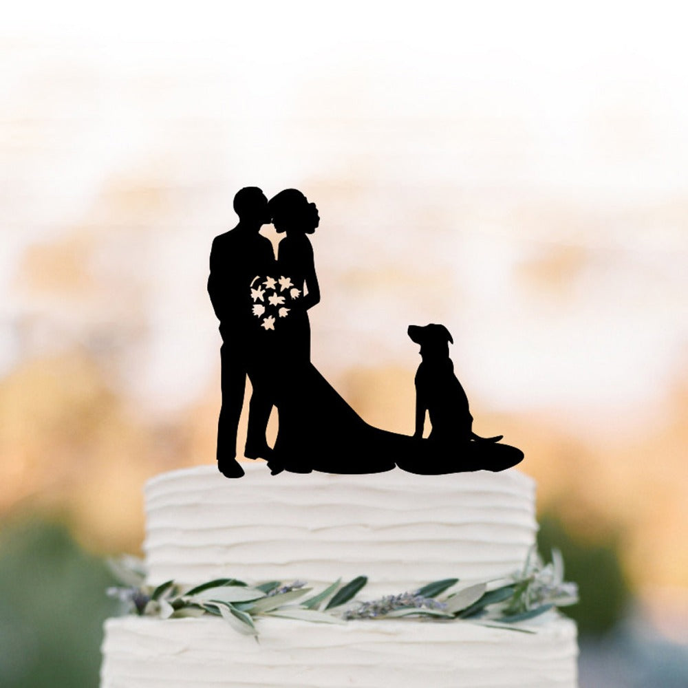 Elegant Bride and Groom with Labrador Wedding Cake Topper