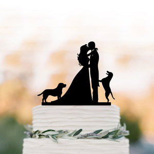 Bride and Groom with Two Large Dogs Wedding Cake Topper