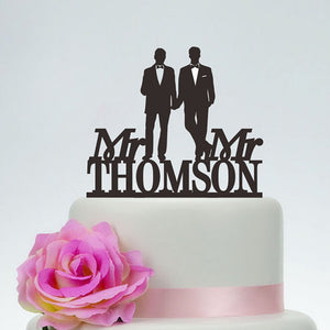 Personalized Mr. and Mr. Gay Men Wedding Cake Topper