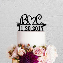 Load image into Gallery viewer, Personalized Heart Initials with Arrow and Date Wedding Cake Topper