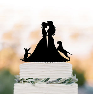 Bride and Bride with Cat and Dog Wedding Cake Topper-Same Sex Wedding-Black-Cheery Toppers