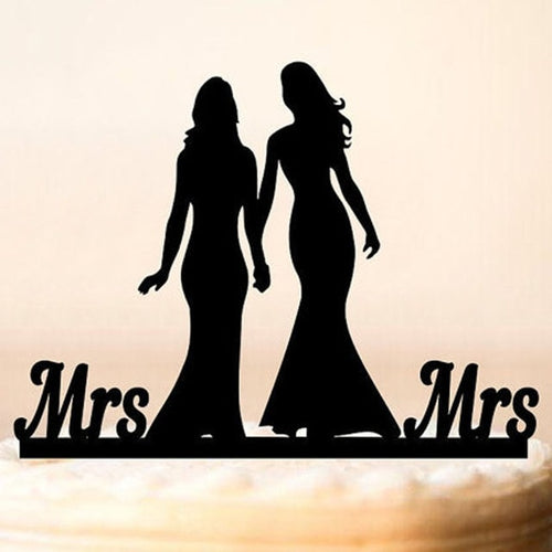 Mrs. & Mrs. Wedding Cake Topper-Same Sex Wedding-Black-Cheery Toppers