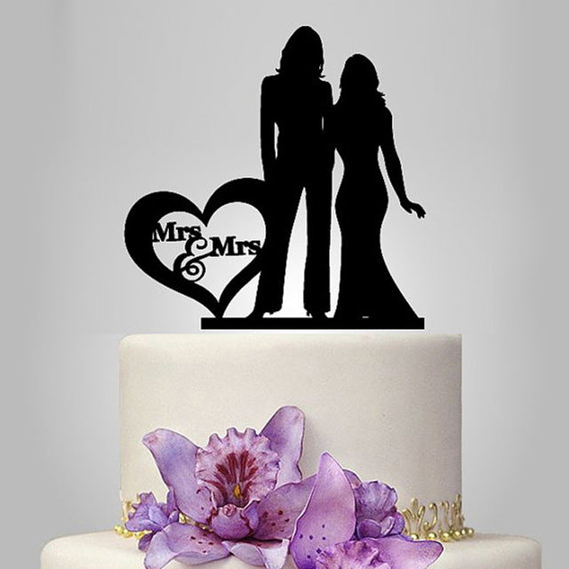Mrs. & Mrs. Silhouette Wedding Cake Topper-Same Sex Wedding-Black-Cheery Toppers