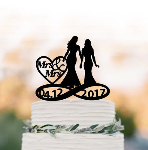 Personalized Mrs. & Mrs. Wedding Cake Topper with Date-Custom Wedding, Same Sex Wedding-Black-Cheery Toppers